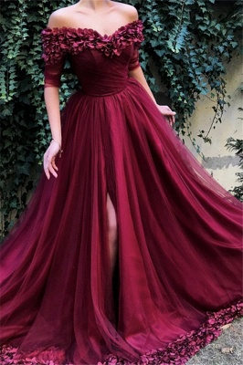 Burgundy Off The Shoulder 3/4 Sleeve Sweetheart Flower A Line Prom Dresses | Front Slit Party Dresses_1
