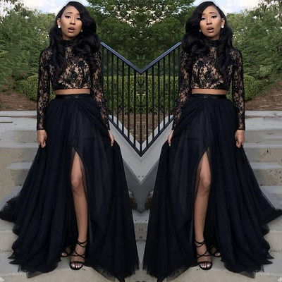 2018 Lace Black Two-Piece Long-Sleeve Front-Split Newest Prom Dress_4