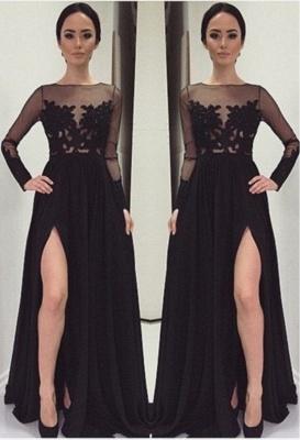 Appliques Bateau Black Long-Sleeves Elegant Side-Slit Prom Dress_1