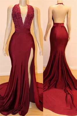 Halter Bungurdy Lace Beaded Front Slit Mermaid Prom Dresses | Cheap Backless Evening Dresses_1