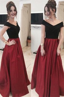 Black Off-the-Shoulder  Prom Dresses Applique Ruffles Mermaid Sexy Evening Dresses_2