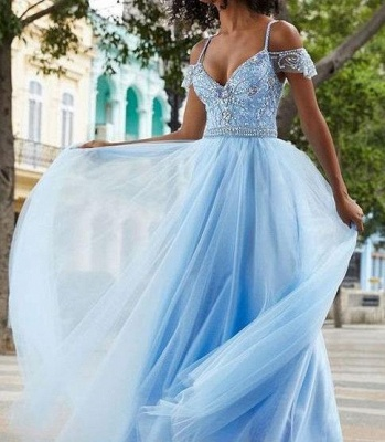Chic Crystal SpagheetiStraps Prom Dresses Sheer  Sequins leeveless Sexy Evening Dresses_2