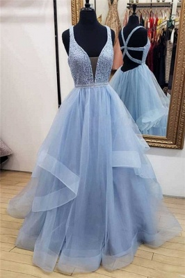 Chic Lace Straps Applique Prom Dresses Tiered Lace-Up Sleeveless Sexy Evening Dresses_1