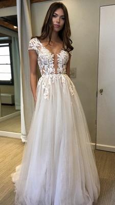 V-Neck Applique Prom Dresses Sheer Sleeveless Sexy Evening Dresses_3