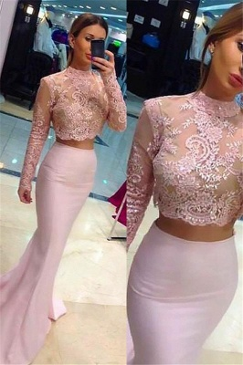Chic High Neck Applique Long Sleeves Prom Dresses Mermaid Pink Lace Two Piece Sexy Evening Dresses_1