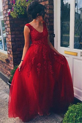 Red Jewel Applique Sleeveless Prom Dresses Tulle Sexy Evening Dresses with Beads_2