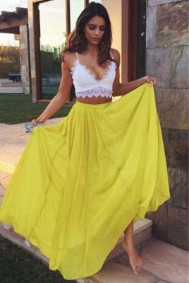 Charming Yellow Lace V-Neck Prom Dresses Two Pieces Spaghetti Strap Sexy Evening Dresses_1