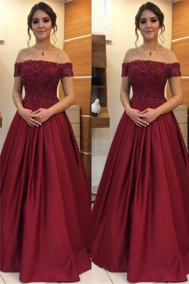 Burgundy Off-the-Shoulder Applique Prom Dresses Beads Ruffles Sleeveless Sexy Evening Dresses_1