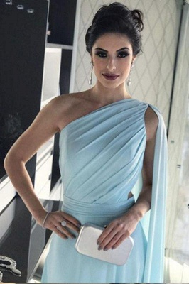 Chic Ruffle Applique Oneshoulder Prom Dresses A-Line Over-Skirt Sleeveless Sexy Evening Dresses_4