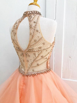 Chic Crystal Halter Applique Prom Dresses Keyhole Ball Gown Sleeveless Sexy Evening Dresses with Beads_3
