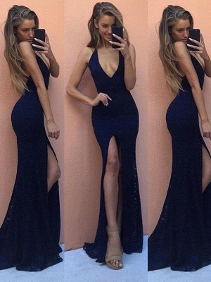 Royal Blue Halter Applique Prom Dresses Sleeveless Mermaid Sexy Evening Dresses with Beads_2
