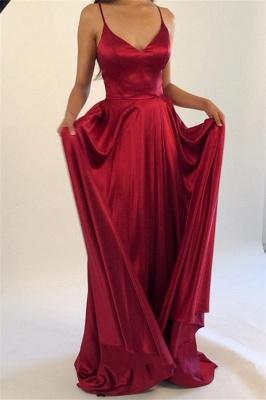Spaghetti Strap Lace Up Prom Dresses Side Slit Sleeveless Sexy Evening Dresses_2