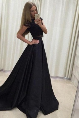Applique Jewel Prom Dresses Two Piece Ruffles Sleeveless Sexy Evening Dresses_4