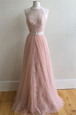 Chic Applique Overskirt halter Prom Dresses Sleeveless Sexy Evening Dresses with Beads_1