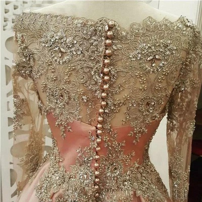 Chic Applique Crystal Jewel Prom Dresses Side slit Longsleeves Sexy Evening Dresses with Beads_2