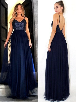 Crystal Spaghetti Strap Open Back Prom Dresses Tulle Sexy Evening Dresses with Beads_3