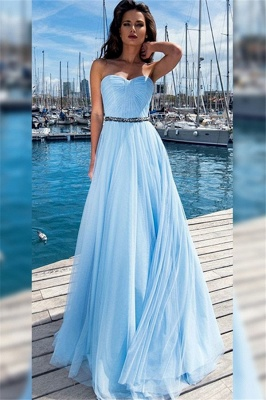 Chic Sweetheart Ruffles Crystal Prom Dresses Sleeveless Sexy Evening Dresses With Belt_1