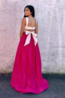 Straps Simple Sleeveless Prom Dresses Two Piece  Cheap Sexy Evening Dresses_2