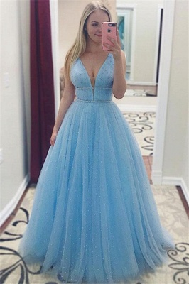Chic Sleeveless Crystal Prom Dresses Cheap Sleeveless Sexy Evening Dresses with Beads_1
