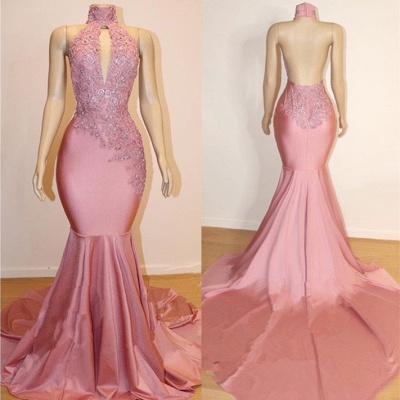 Pink High Neck Lace Mermaid Prom Dresses | Beaded Backless Long Evening Gown_3