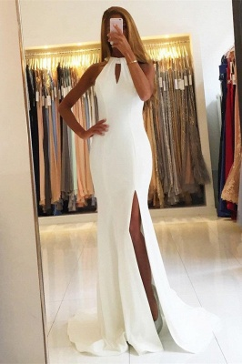 Simple Halter Mermaid Evening Dresses Open Back Side Slit Prom Dresses Sleeveless qq0381_2