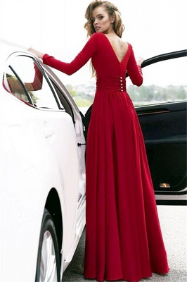 Red Long Sleeves Crystal Prom Dresses Open Back Side Slit Sexy Evening Dresses with Belt_2