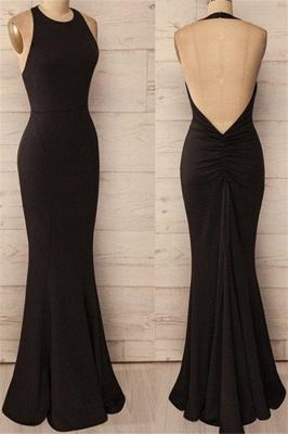 Black Halter Ruffles Prom Dresses Open Back Mermaid Sleeveless Sexy Evening Dresses_1