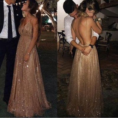 Squins Spaghetti-Strap Prom Dresses Backless Sleeveless Sexy Evening Dresses_4