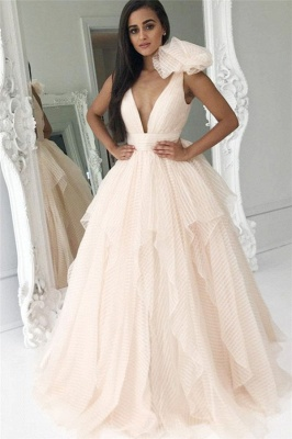 Ruffles V-Neck Bowknot Prom Dresses Cheap Tiered Sleeveless Sexy Evening Dresses
