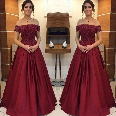 Burgundy Off-the-Shoulder Applique Prom Dresses Beads Ruffles Sleeveless Sexy Evening Dresses_2