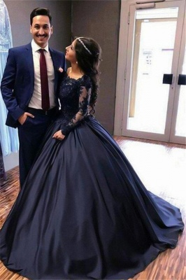 Lace Applique Bateau Long Sleeves Prom Dresses Ball Gown Sexy Evening Dresses with Beads_5