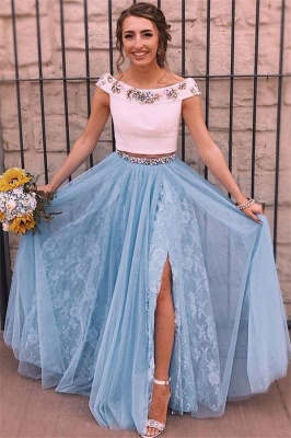 Crystal  Two Piece Applique Prom Dresses Side slit Mermaid Sleeveless Sexy Evening Dresses_1