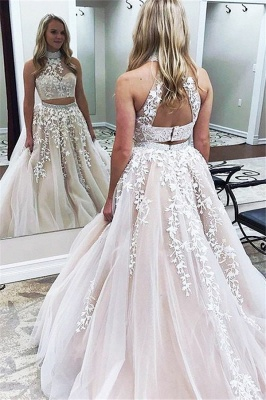 Chic Halter Two Piece Applique Prom Dresses Lace Up Crystal Sexy Evening Dresses with Beads_1