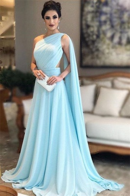 Chic Ruffle Applique Oneshoulder Prom Dresses A-Line Over-Skirt Sleeveless Sexy Evening Dresses_1