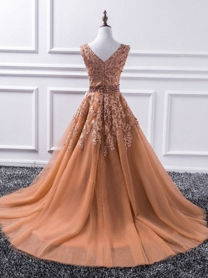 Chic V-Neck Applique Crystal Prom Dresses Sleeveless Tulle Sexy Evening Dresses Cheap_2