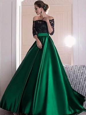Gorgeous Black Lace Long Sleeves Prom Dresses Bateau Sexy Evening Dresses Cheap_2