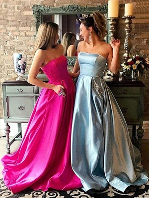 Strapless Beads Ruffles Prom Dresses Sleeveless Sexy Evening Dresses with Pocket_2