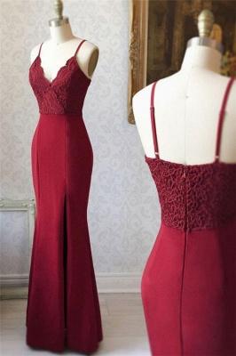 Applique Spaghetti-Strap Prom Dresses Side slit Mermaid Sleeveless Sexy Evening Dresses_1