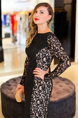 Hi-lo Lace Long Sleeves Lace Prom Dresses Plus Size Black Plus Size Sexy Evening Dresses_3