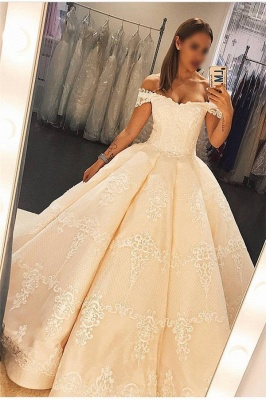 Applique Off-the-Shoulder Prom Dresses Ruffles Ball Gown Sleeveless Sexy Evening Dresses_1