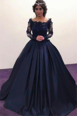 Lace Applique Bateau Long Sleeves Prom Dresses Ball Gown Sexy Evening Dresses with Beads_4