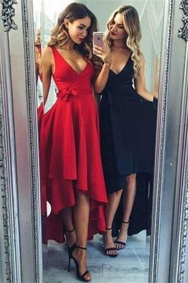 Chic Bowknot V-Neck Prom Dresses Hi-Lo Ruffles Sleeveless Sexy Evening Dresses_1