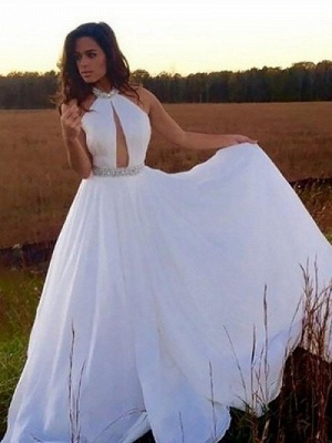 Chic Halter Crystal Prom Dresses Sleeveless keyhole Sexy Evening Dresses Cheap_1