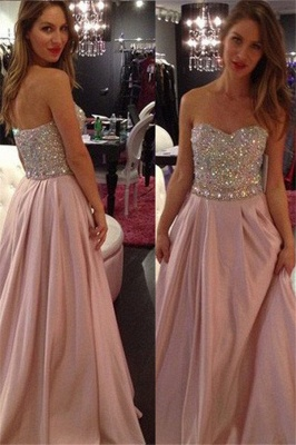 Sweetheart Crystal Prom Dresses Romactic Pink Sleeveless Sexy Evening Dresses_1