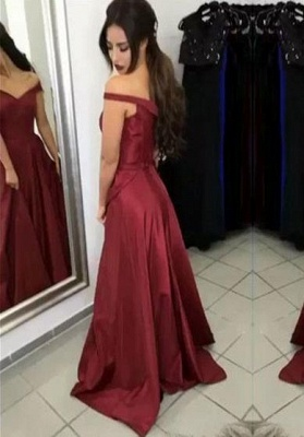 Ruffles Off-the-Shoulder Prom Dresses Simple Sleeveless Sexy Evening Dresses_2