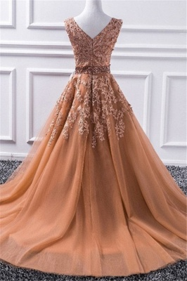 Chic V-Neck Applique Crystal Prom Dresses Sleeveless Tulle Sexy Evening Dresses Cheap_3