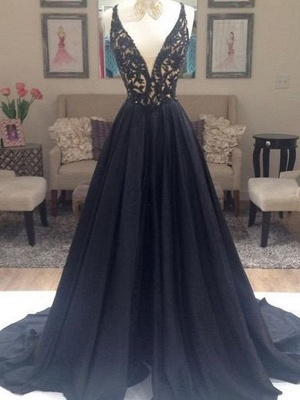 Black Lace V-Neck Sleeveless Prom Dresses Open Back Sexy Evening Dresses with Beads_3