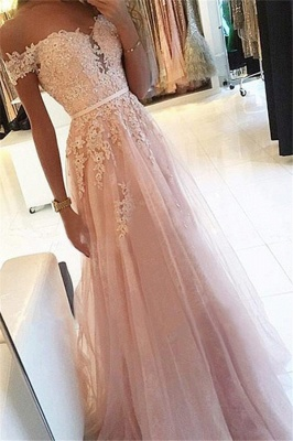 Pink Off-the-Shoulder Applique Prom Dresses Tulle Sleeveless Cheap Sexy Evening Dresses_1