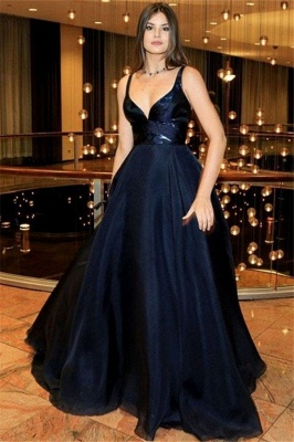 Black Spaghetti Strap Prom Dresses Sleeveless Cheap Tulle Sexy Evening Dresses_1