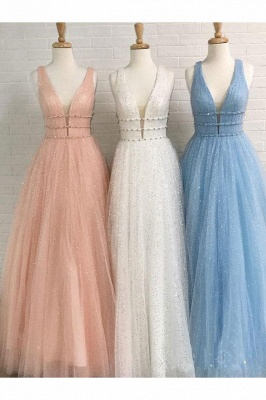Gorgeous Sequins Straps Tulle Prom Dresses | Ball Gown Sleeveless Sexy Evening Dresses with Beads_7